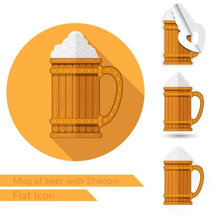 oval  alcohol: mug with beer and foam flat icon on white with oval long shadow and folded corner