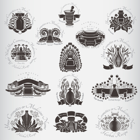 herbal medicine: set of bottles with herbal Illustration