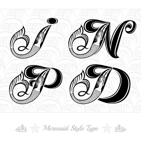 Set of marine capital letter with swiming mermaid - d, i, p, n. Vintage engraving style