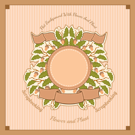 midsummer: brown vector background. branches of oak with leaves and acorns in the center under the round banner and ribbons