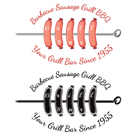 spit: Roasting sausages on spit with text grill bar. Bbq bar restaurant label or banner two variant color and black isolated on white