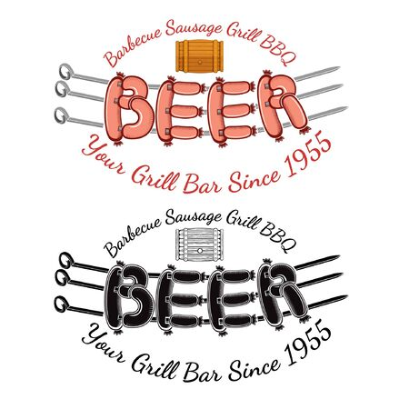 roasting: Word beer from sausages roasting on three spits with wood barrel above. Bbq bar restaurant label or banner two variant color and black isolated on white