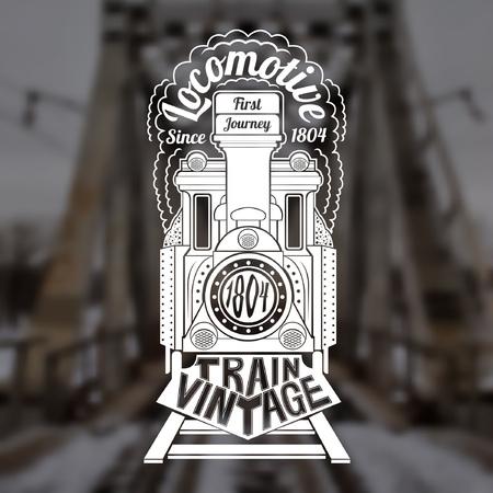 maquina vapor: Fondo borroso de puente vintage. Cara Grabado de vieja locomotora o tren con locomotora de texto en el humo y el texto tren de época por tren
