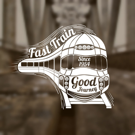 black train: Blurred background of rails and bridge. Turning engraving face of modern speed train and wagons and text fast train into speed wave and good journey text on face train