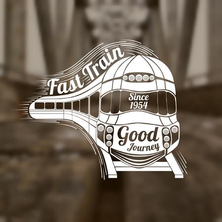 tren: Fondo borroso de rieles y puentes. Volviendo el rostro grabado de tren y vagones velocidad moderno y tren rápido de texto en la onda de velocidad y buen texto viaje en tren cara