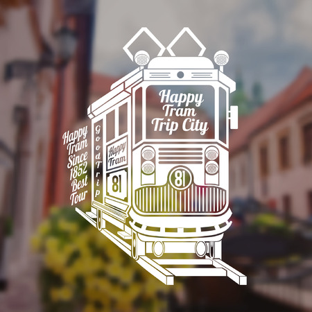 tramcar: Blurred background of vintage town and street. Engraving face of old tram with text happy tram trip city on tram