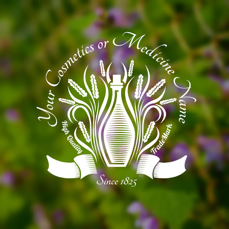 tincture: Bottles or glass near leaves and spicas in the centre of blurred background of green grass and violet flower. Vector silhouette label. (cream, lotion, balm, tincture, cosmetics, oil, perfume, herbal drags) Illustration