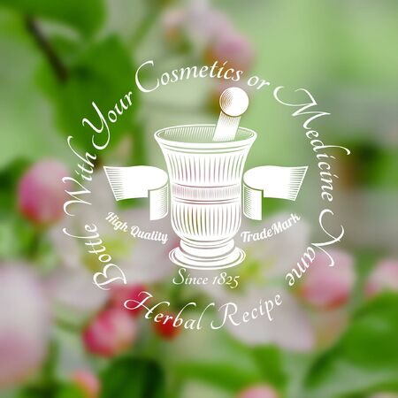mortar and pestle with ribbon in the centre of blurred background of leaves and pink flower. Vector silhouette label. (cream, lotion, balm, tincture, cosmetics, oil, perfume, herbal drags) Vectores