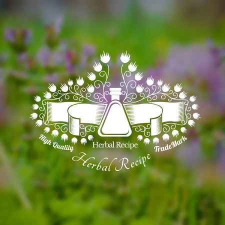 tincture: Bottles or glass with ribbon near flowers in the centre of blurred background of green grass and violet flower. Vector silhouette label. (cream, lotion, balm, tincture, cosmetics, oil, perfume, herbal drags)