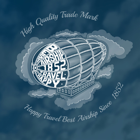 dirigible: engraving airship into clouds with text happy travel best airship on face of dirigible. Blurred background of clouds on blue sky. Illustration