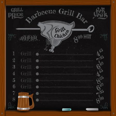 chicken grill: chicken grill on spit. Grill menu on black chalkboard
