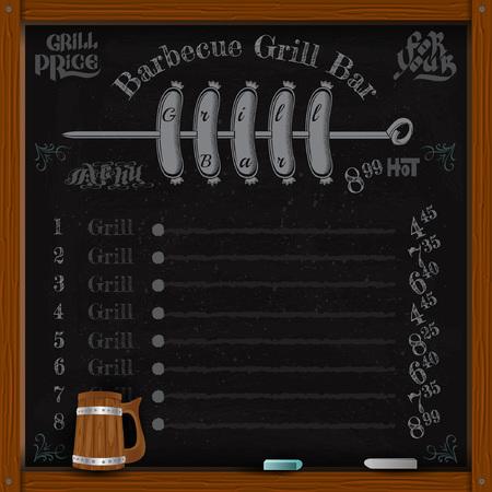 spit: sausage grill on spit. Grill menu on black chalkboard