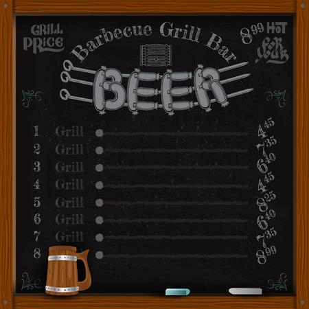 bbq barrel: beer lettering from sausage grill on spit. Grill menu on black chalkboard Illustration