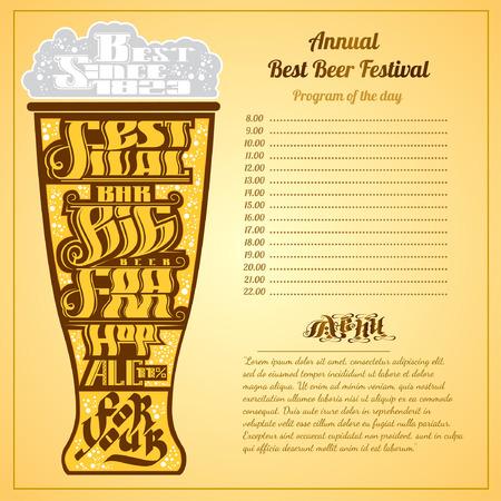 beer foam: menu color background. Best festival big bar beer foam lettering on silhouette of glass
