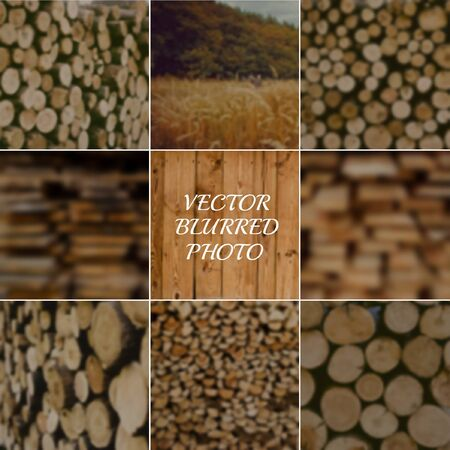 Set of blured wood backgrounds from different sides. Stack of wood, stack of plank, stack of firewood