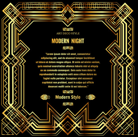 abstract geometric pattern, art deco border with gold grid frame on a black background
