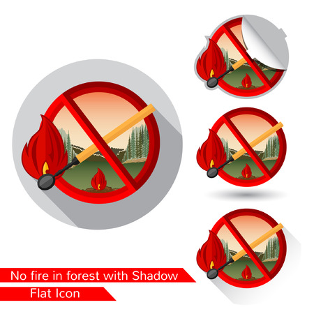 Match in red circle. Set of warning fire icons in flat style with different shadow. oval shadow, long shadow and Match in red circle icon folded corner on white Illustration