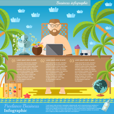 sunbathe: Freelance concept. man work with laptop on the beach. Feel of relax and sunbathe.