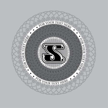 spirograph: Letter s in spirograph circle frame from lines pattern. Royal monogram luxury style
