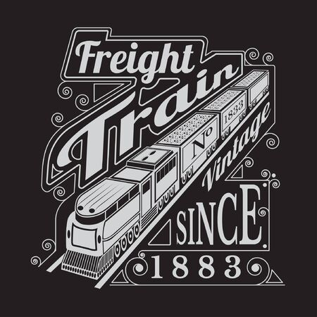 black train: silhouette of old locomotive with wagons and lettering freight train Illustration
