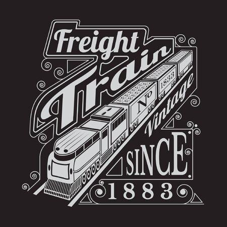 tren: silueta de la vieja locomotora con vagones y trenes de carga letras