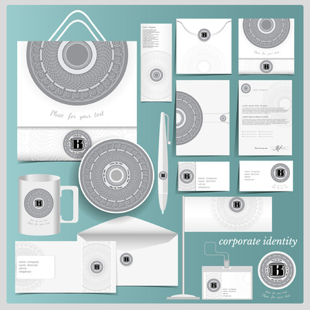 guideline: White corporate identity template with circle spirographic monogram elements.Vector company style for brandbook and guideline.