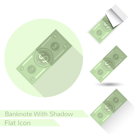 bank note: Flat design bank note vector icon on white with oval shadow long shadow and folded corner