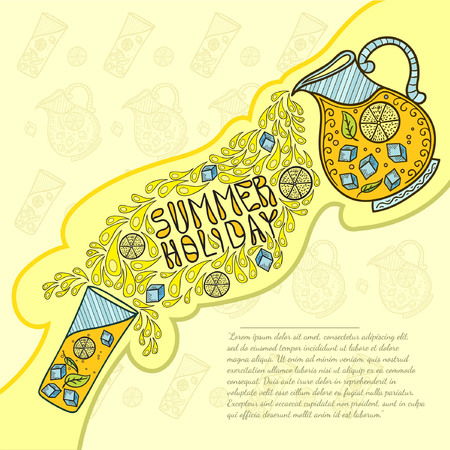 soda pop: jug of lemonade poured into a glass doodle background. Hand draw summer holiday lettering