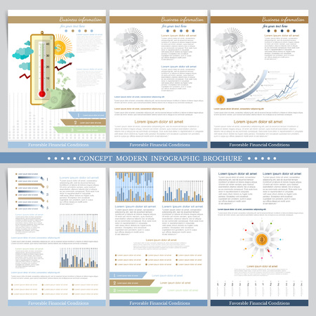 adverse: Favorable financial conditions. Two sides of business tri fold and flyer. Infographics elements in modern flat concept business style. Use for marketing, flyer, corporate report, presentation, print, presentation etc.
