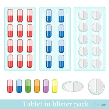 a tablet blister: set of pills in blister and different pills isolated on white. Flat medicine style