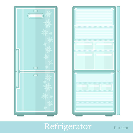 deep freeze: set of fridge empty with open doors and close doors. flat modern style isolated on white Illustration