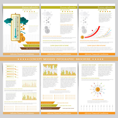 adverse: Adverse financial conditions. Two sides of business tri fold and flyer. Infographics elements in modern flat concept business style. Use for marketing, flyer, corporate report, presentation, print, presentation etc.
