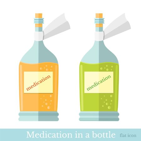 yelow: two glass bottles with yelow and green mixture or medication. Flat style icons
