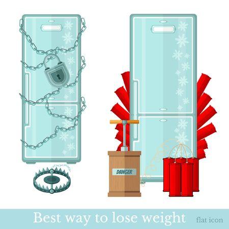 deep freeze: Conjunto de refrigeradores. nevera wraped por cadena y cerrado con llave. frigde minada por la dinamita. La mejor manera de bajar de peso