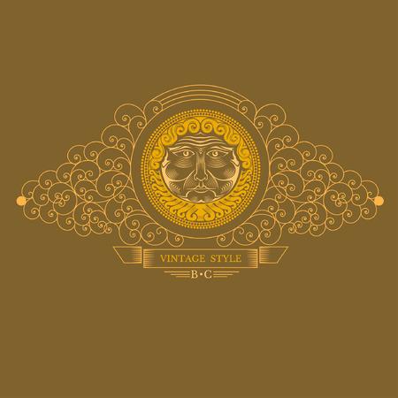 beard man: Beard man head in center of lines swirl pattern. Royal monogram luxury style Illustration