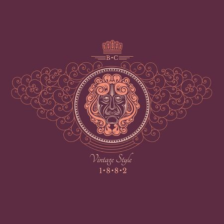 crown logo: Head of man in center of lines swirl pattern. Royal monogram violet luxury style Illustration