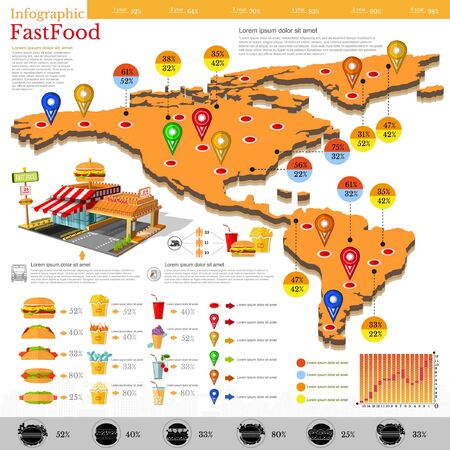 fast money: Fast food infographic. Map of America and Mexico with different info. Datas and plans of fast food location, menu etc