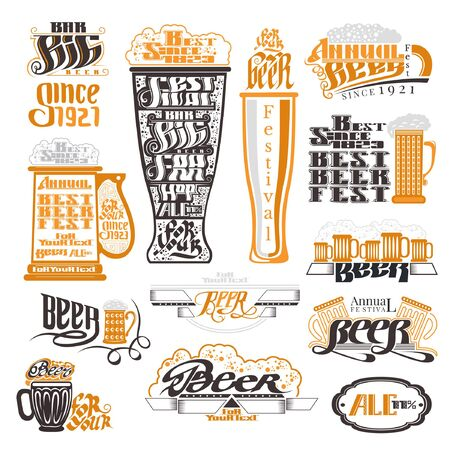 brewery  hops: Beer pub and festival labels, badges and icons collection Illustration
