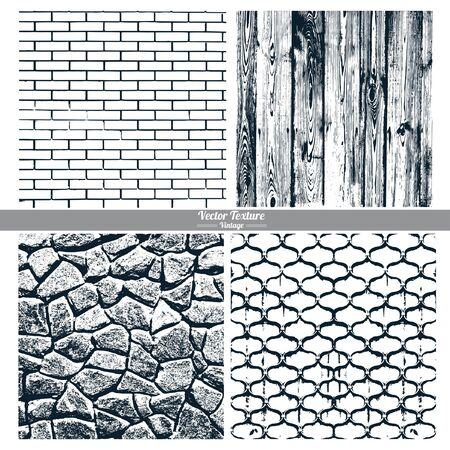 cast iron: Set of vector textures. Dark texture brick wall, wood, stone wall, cast iron grid.