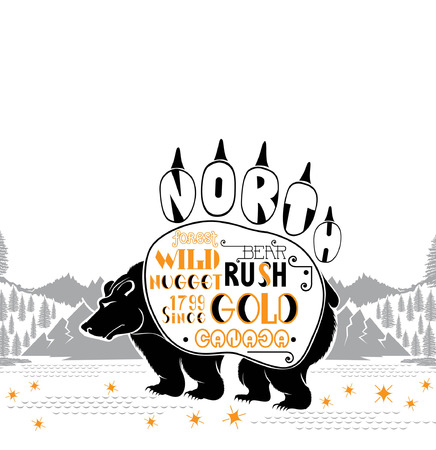 gold rush: Bear silhouette from footprint on the landscape background. Gold rush canada lettering on bear track