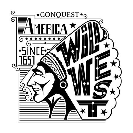 guerrero: Fondo con la cabeza jefe indio. Estilo de grabado