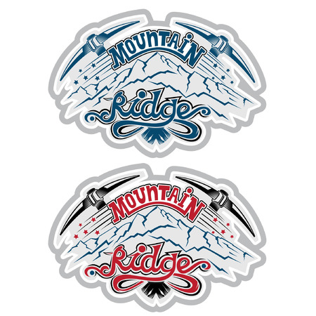 t ski: Set of vintage mountain climbing labels and badges
