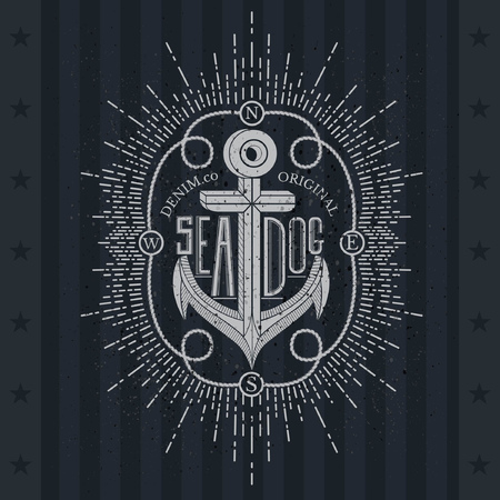clothing label: White Anchor On Blackboard. Vintage Label, Grunge Background. Typography Elements