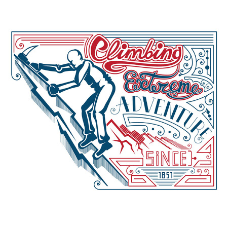 t ski: man climbing with ax vintage label