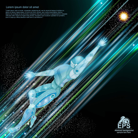 light trails: Cyborg robot flying with light trails and motion blur on space background Illustration
