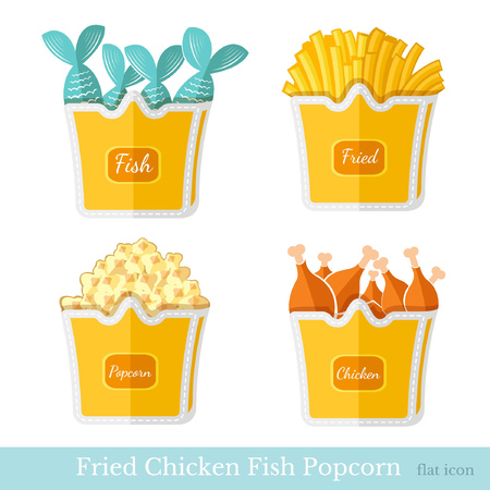 fried fish: flat fast food fried potato chicken fish popcorn with pack on white