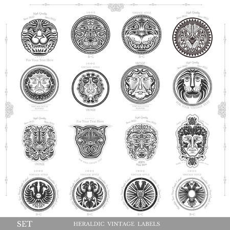 heraldic animal: set of color vintage royal labels with lion eagle and man face