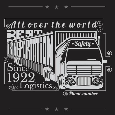 tk: silhouette of truck with trailer and lettering best transportation Logistics