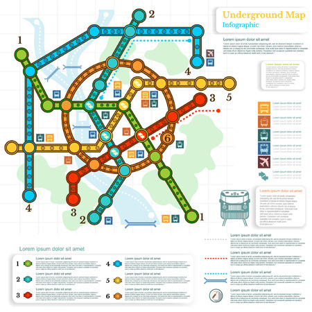 trackless: underground infographic with lines of metro on city map and topography simbols Illustration