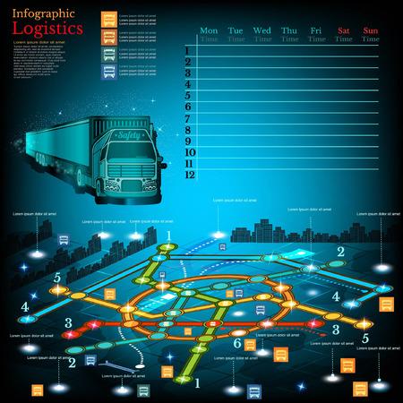 topography: Log�stica infograf�a con las l�neas de suministro en el mapa de la ciudad. Simbols topograf�a, el calendario de la semana y la informaci�n othe Vectores
